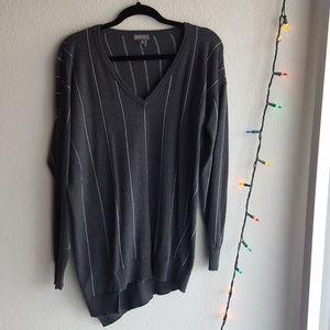 Asymmetric Soft Pinstripe V-Neck Sweater
